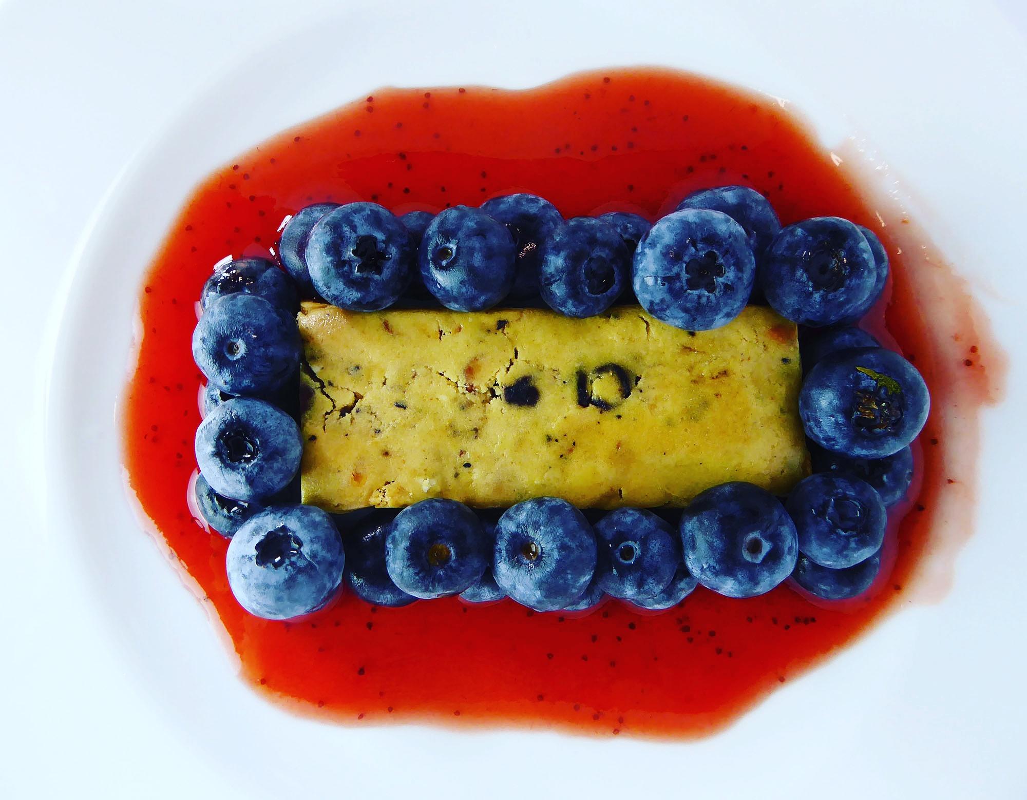 Questbar Blueberry Muffin Protein Bar strawberry sauce blueberries