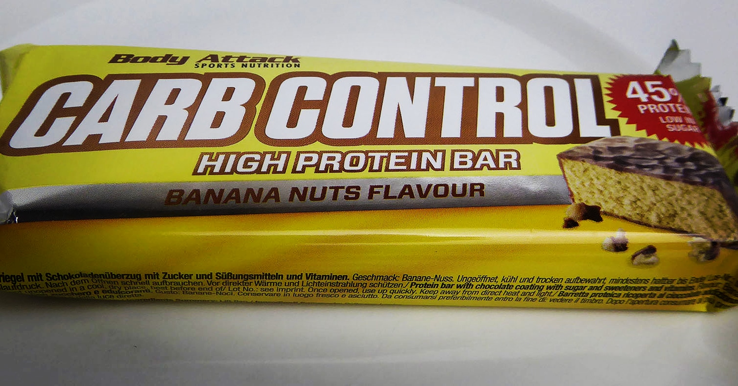 Body Attack Carb Control High Protein Bar Banana Nuts Flavour