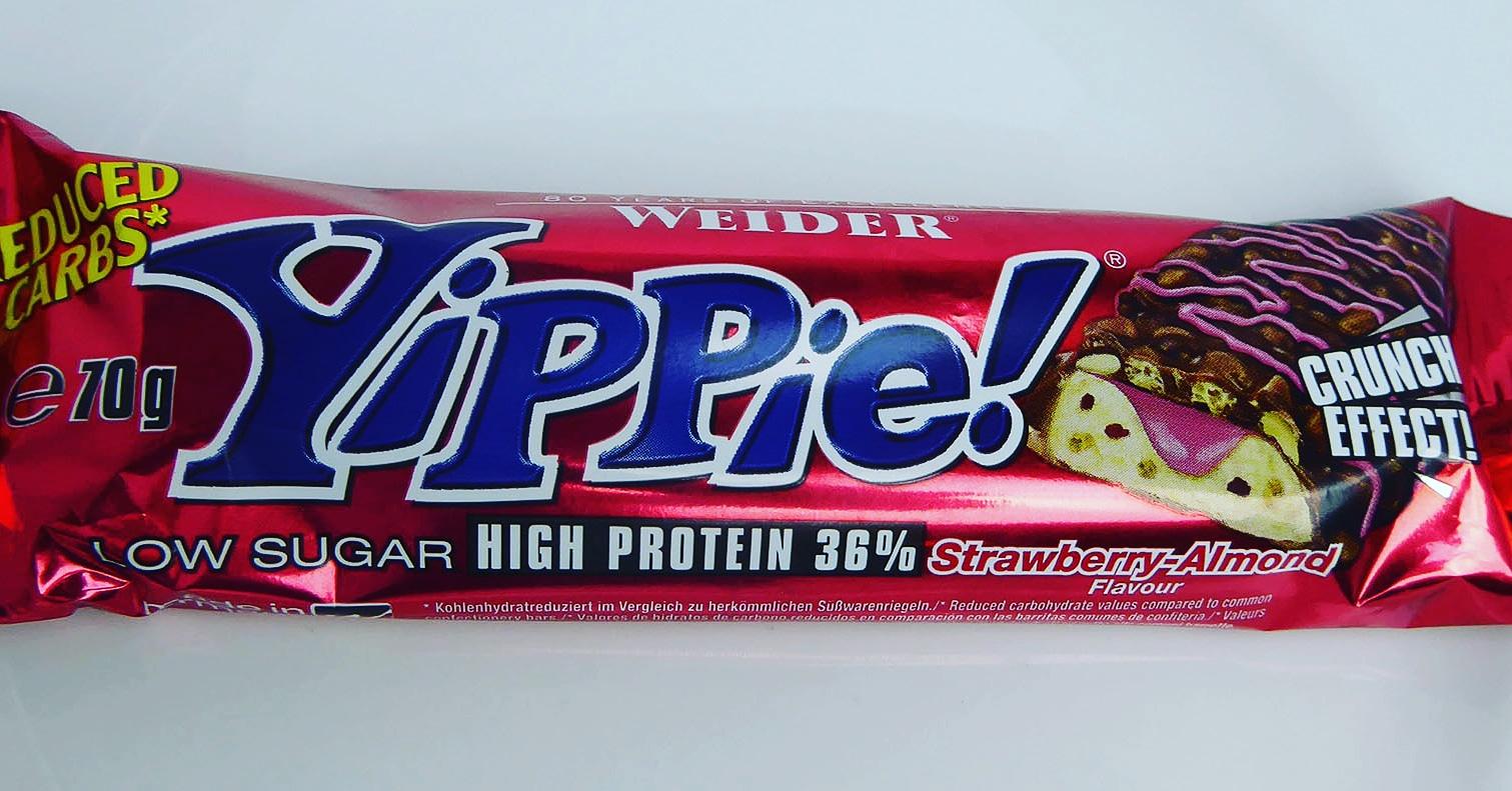 Weider Yippie Strawberry Almond Erdbeer Mandel Protein Bar Proteinbar Proteinriegel Eiweißriegel